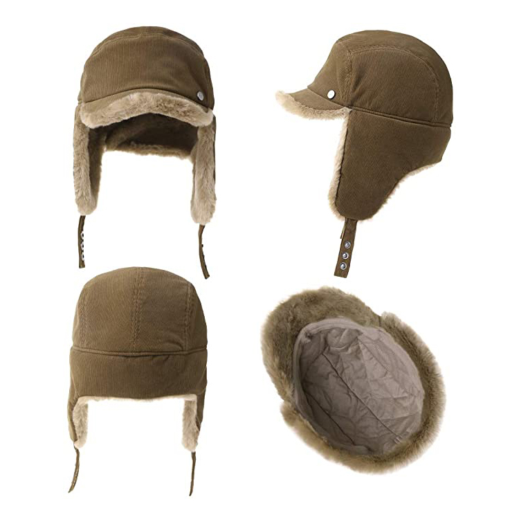 Fur Earflap Corduroy Baseball Cap Women Girl Kid Elmer Fudd Trapper Hats Winter 53-60CM