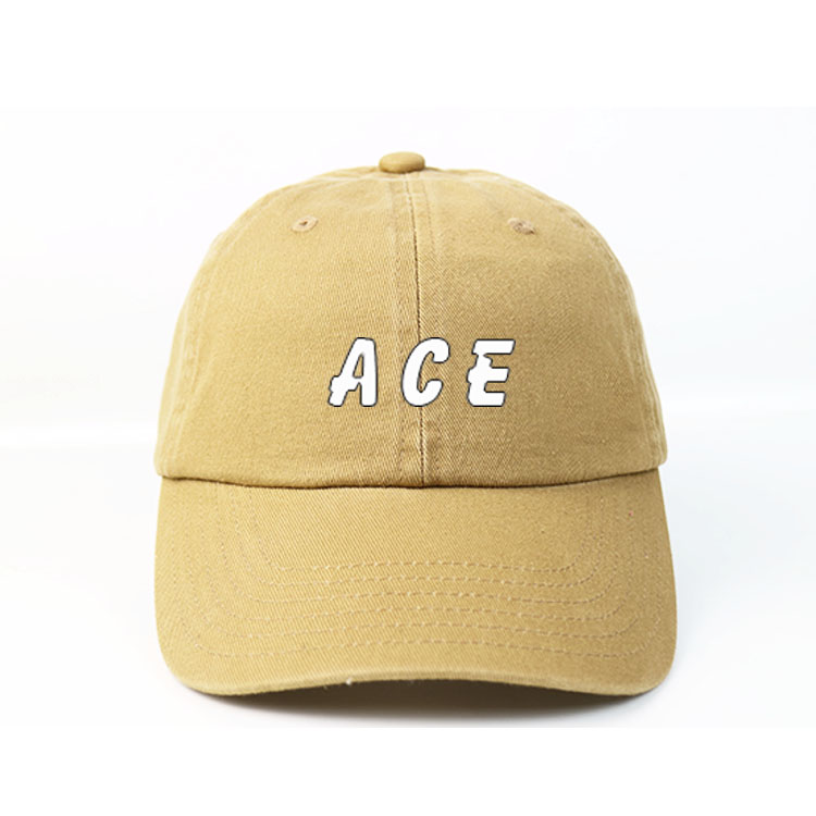 ACE 6 panel yellow dad hat print logo wth metal buckle