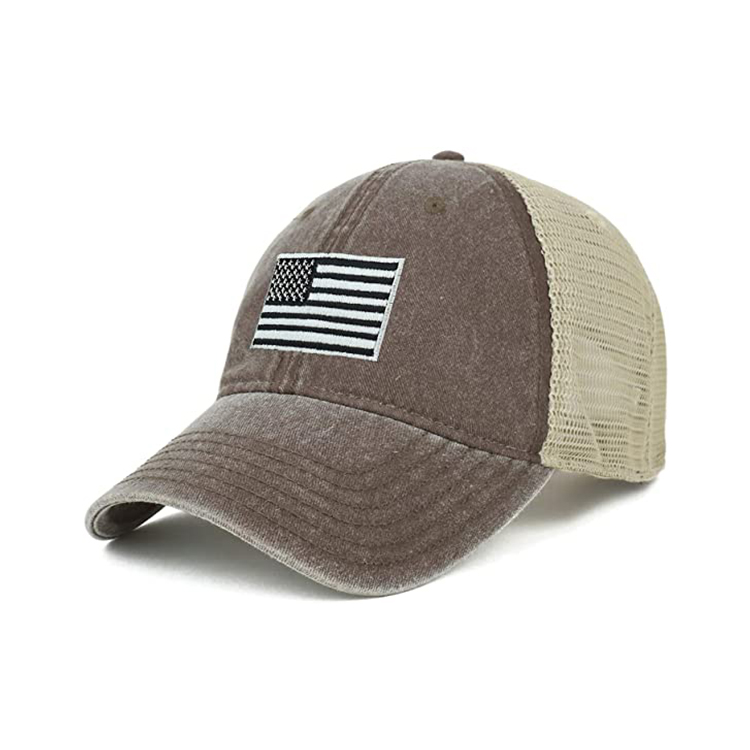 Oversize XXL Grey American Flag Embroidered Washed Trucker Mesh Cap